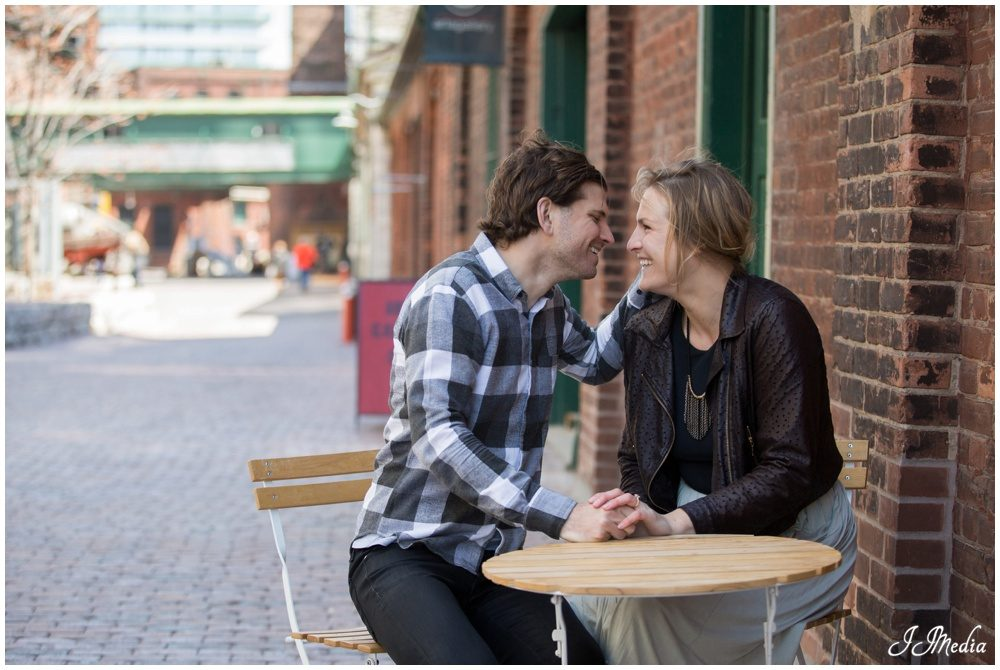 Daniel and Kathleen, Toronto Distillery District Engagement Photos